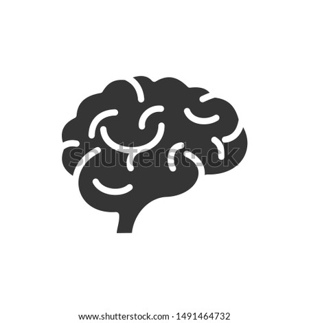 Brain icon vector sign isolated on white background. Brain symbol template color editable