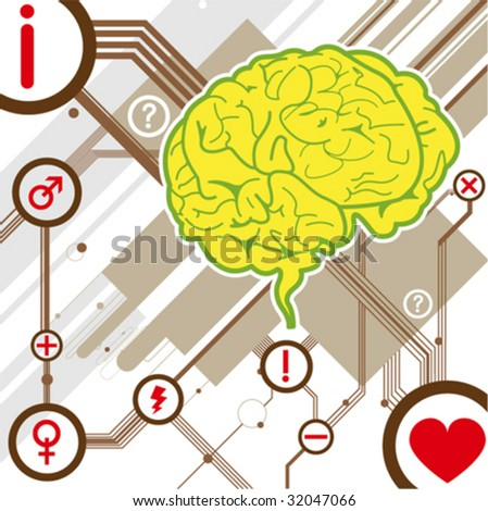brain illustration background vector - stock vector