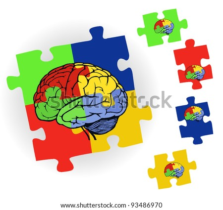 brain in puzzle frame for web design