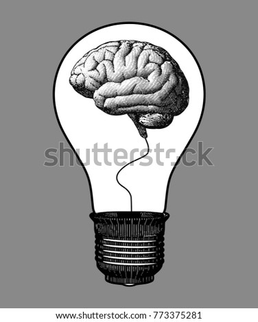 Brain inside the light bulb black and white engraving drawing style isolated on gray background