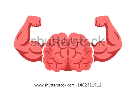 Brain, intellect power. Extreme intelligence, high IQ concept. Brain with strong double biceps. Vector illustration, flat design, cartoon style. Isolated on white background. Front view. ストックフォト ©