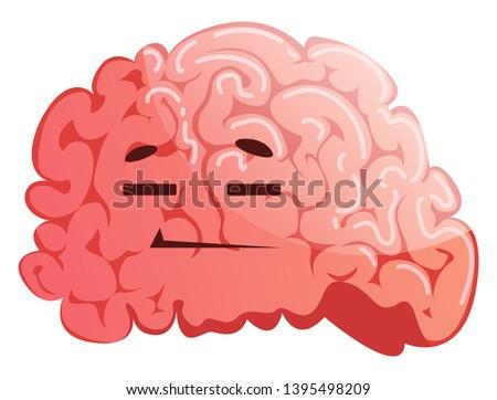 Brain is resting, illustration, vector on white background.