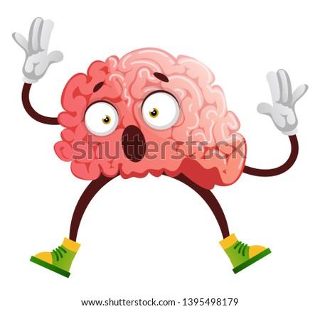 Brain is stunned, illustration, vector on white background.