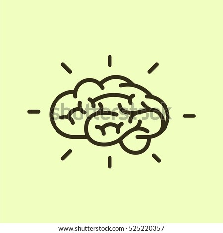 Brain Knowledge Minimalistic Flat Line Outline Stroke Icon Pictogram Symbol