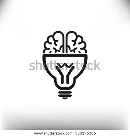 Brain light bulb icon