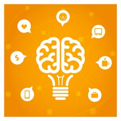 Brain light bulb with icons concept illustration