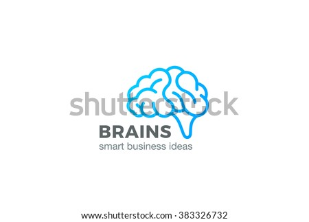 Brain Logo silhouette design vector template linear style.  Brainstorm think idea Logotype concept outline icon.