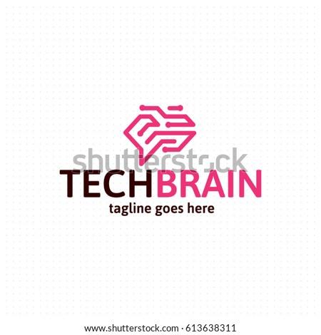 Stock Photo Brain logo template. Corporate branding identity. Vector logotype