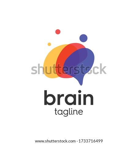 Brain logo template with creative thoughts full of ideas Photo stock ©