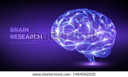 Brain. Low poly abstract digital human brain. Neural network. IQ testing, artificial intelligence virtual emulation science technology concept. Brainstorm think idea. 3D polygonal vector illustration.