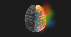 Brain low poly graphic illustration in top view on dark background with monochrome left and colorful right functions concept