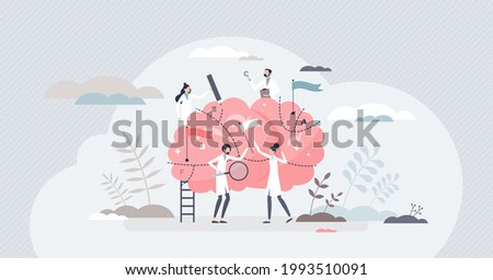 Brain mapping as neuroscience spatial representations method tiny person concept. Anatomical analytic process scene with learning about organ division and imaging projection vector illustration. Stock photo ©