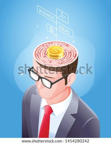 Brain maze with gold coin in businessman head. Vector illustrations conceptuel design. Stockfoto ©