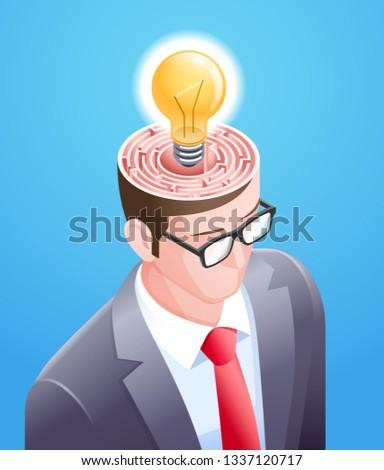Brain maze with light bulb in businessman head. Vector illustrations conceptuel design. Stockfoto ©