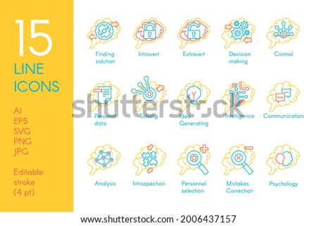 Brain mind function collection icon set vector. Solving and finding solution, introvert and extrovert, generating idea and making decision, analysis and control linear pictogram. Contour illustration Foto stock ©