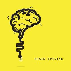 Brain opening concept.Creative brain abstract vector logo design template. Corporate business industrial creative logotype symbol.Vector illustration