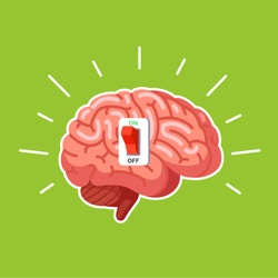 Brain power switch, turned on works fine, awake. Modern flat style thin line vector illustration isolated on green background.