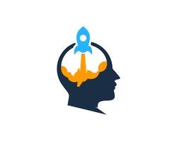 Brain Rocket Mind Boost Logo Design Template