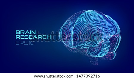 Brain scanning medical hologram. Cyberpunk biotechnology virtual data