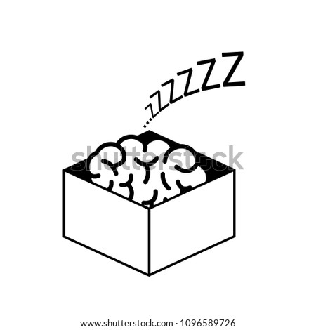 Brain sleeping in the box. Vector concept illustration of inactive passive mind | flat design linear infographic icon black on white background