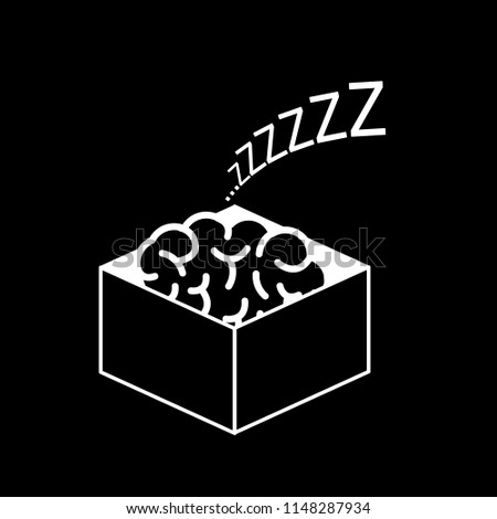 Brain sleeping in the box. Vector concept illustration of inactive passive mind | flat design linear infographic icon white on black background