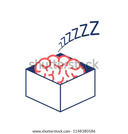Brain sleeping in the box. Vector concept illustration of inactive passive mind | flat design linear infographic icon red and blue on white background