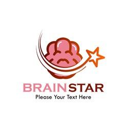 Brain star logo template illustration. suitable for intellegence, leader, genius etc