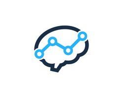 Brain Statistic Analytic Mind Logo Design Template