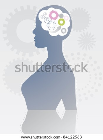 Brain storm Gears spin in a woman's mind. EPS 8 vector, cleanly built, no open shapes, no strokes.