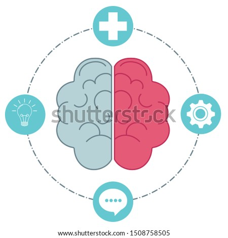 Brain symbol icon showing attitudes and cognitive processes. Creative thinking; problem-solving; positive mindset and using ideas to find good things.