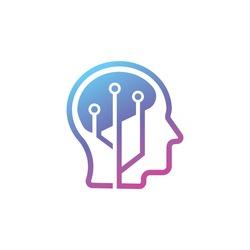 Brain Tech Mind Data logo design template