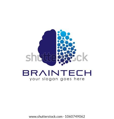 Brain technology logo template