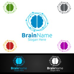 Brain Technology Logo with Think Idea Concept Vector Design