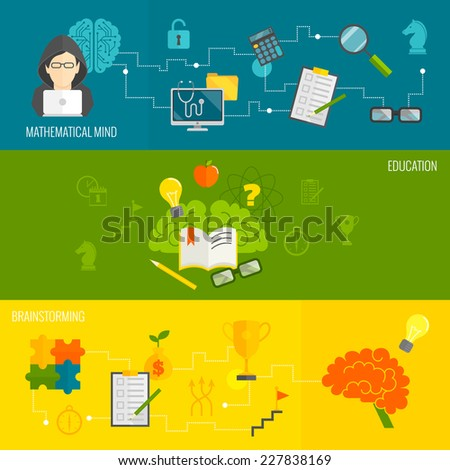Brain thinking banner flat set with mathematical mind brainstorming education isolated vector illustration