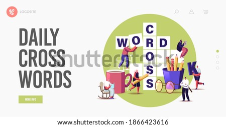 Brain Training, Puzzle Solving Landing Page Template. Tiny Characters Solve Huge Crossword. Spare Time Recreation, People Have Fun Thinking on Riddle, Logic Game. Cartoon Vector Illustration