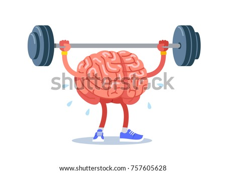 Brain training, rock the muscles with a barbell. Modern flat style thin line vector illustration isolated on white background.