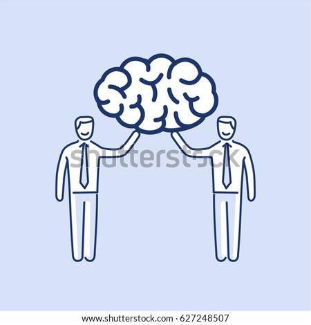 Brain trust. Vector illustration of two businessman's holding human brain   modern flat design linear concept icon and infographic on blue background Photo stock ©