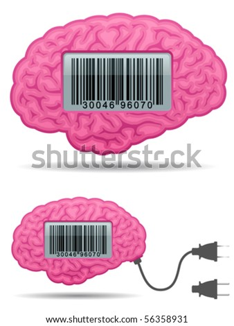 Brain with barcode screen and connector plug - vector
