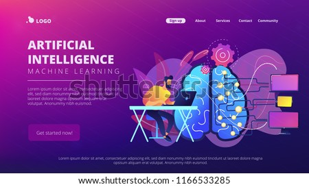 Brain with digital circuit and programmer with laptop. Machine learning, artificial intelligence, digital brain and artificial thinking process concept, violet palette. Vector landing page.