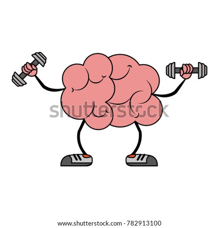 Brain with dumbbells cartoon