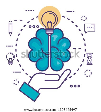 brain with innovation icons