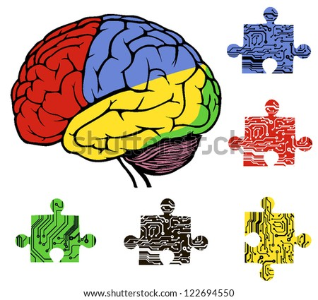 brain with puzzle in circuit style. vector illustration