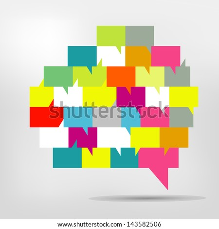 Brain with speech bubbles. Colorful speak and dialog bubbles.