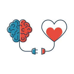Brains and heart are connected. Heart and brain work together. Blackline design. Connection of mind and feelings. Abstract background. Vector illustration flat design. Isolated on white background.