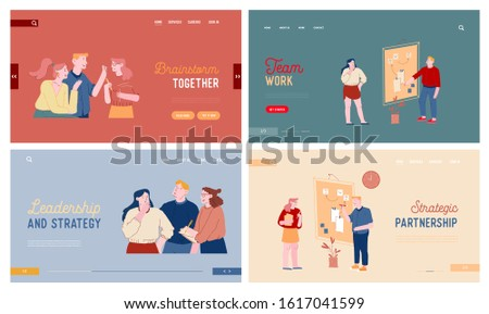 Brainstorm and Productive Communication Website Landing Page Set. Office People Communicate, Goal Achievement with Kanban Technology, Scrum Board Web Page Banner. Cartoon Flat Vector Illustration