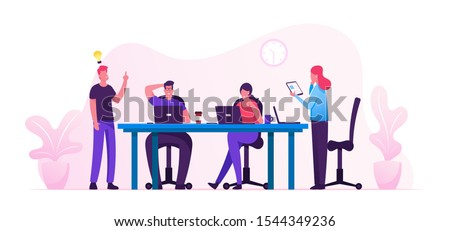 Brainstorm Concept. Creative People in Office Have Idea Working Together with Laptops and Tablet. Successful Team in Coworking Space Developing Project. Partnership Cartoon Flat Vector Illustration