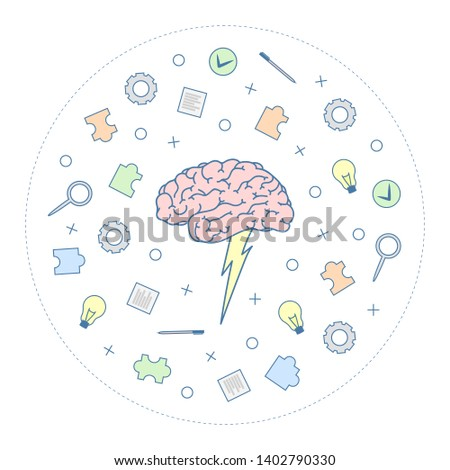 Brainstorm concept in minimalistic flat style isolated on white background. Modern vector design. Brainstorming creative idea.