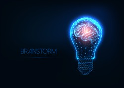 Brainstorm concept with futuristic glowing low polygonal light bulb and human brain isolated on dark blue background.  Creativity, idea, success. Modern wireframe design vector illustration.