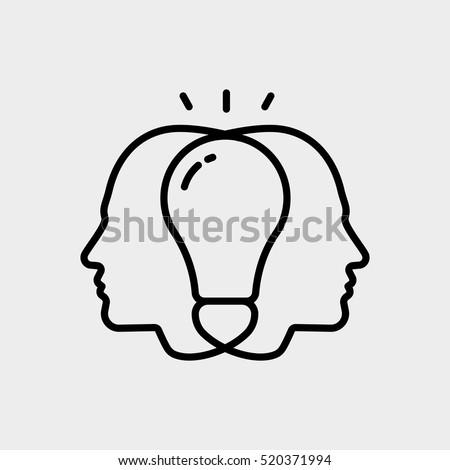 Brainstorm Creative Collective Thinking Idea Man User Minimalistic Flat Line Outline Stroke Icon Pictogram Symbol