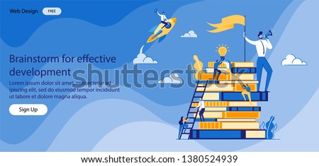 Brainstorm for Effective Development Banner Flat. Male Worker Speaks into Loudspeaker and Holds Flag; Small People Storm Books. Job Well done Requires Encouragement. Vector Illustration.